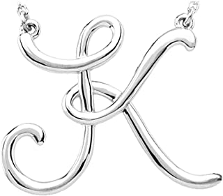 Black Bow Jewelry 14k White Gold, Olivia Collection, Medium Script Initial K Necklace
