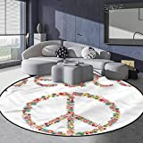 Groovy Polyester Geometric Area Rug Kids Play Rug, Round Peace Sign with Flower 3' in Diameter