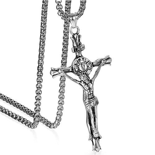 JewelryWe Schmuck Herren Anhänger Halskette Edelstahl großer katholischer Jesus Christus INRI Kruzifix Kreuz Anhänger mit 55cm Venezianer Kette Silber