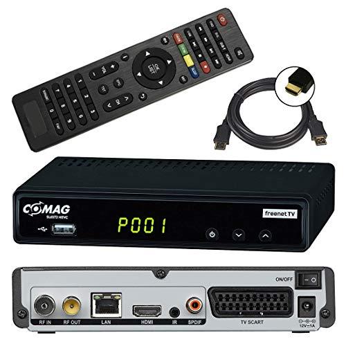 netshop 25 Set: Comag SL65T2 DVB-T2 Receiver (3 Monate FREENET TV) + HDMI Kabel, HDTV, PVR Ready, HD USB Mediaplayer, HDMI & SCART Ausgang, schwarz