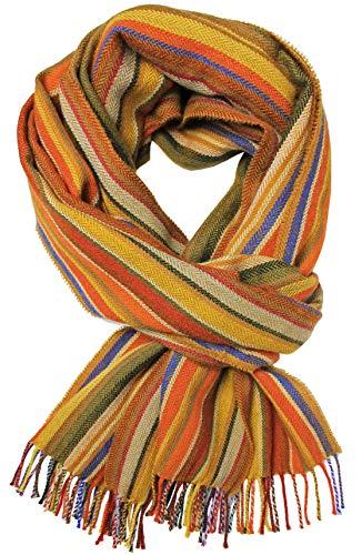 Rotfuchs Echarpe homme rayures hiver & chevrons à la mode plusieurs coloris 100% laine (mérinos) (190 x 52 cm, marron)
