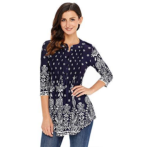 Camiseta Estampada de Talla Grande de otoño, Manga Larga de Tres Cuartos para Mujer, Cuello Redondo, Top Plisado para Mujer