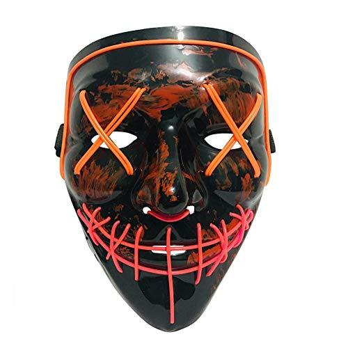 iBàste Halloween LED masker kostuum schrikbare Halloween Cosplay carnaval party batterij aangedreven (niet inbegrepen)