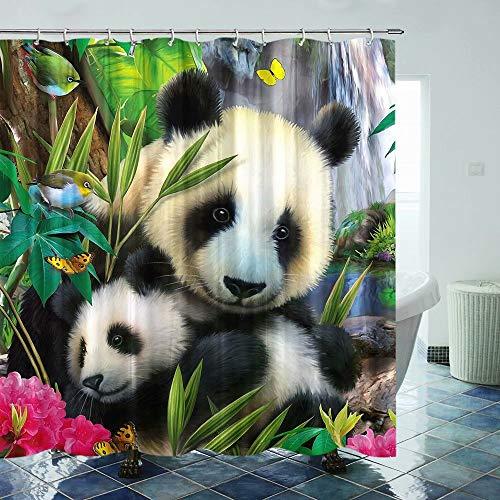 Fuortia Panda Duschvorhang friedlicher Stoff Duschvorhang mit Haken lebendige Badezimmer Vorhang-Sets Vögel Badezimmer Dekoration 178 × 178 cm