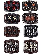 FORMIZON Magic Hair Comb Haarspelden, 8 stuks, rekbaar, dubbele clips, haarkam voor dames en meisjes, haaraccessoires, doe-het-zelf haarstyling-gereedschap