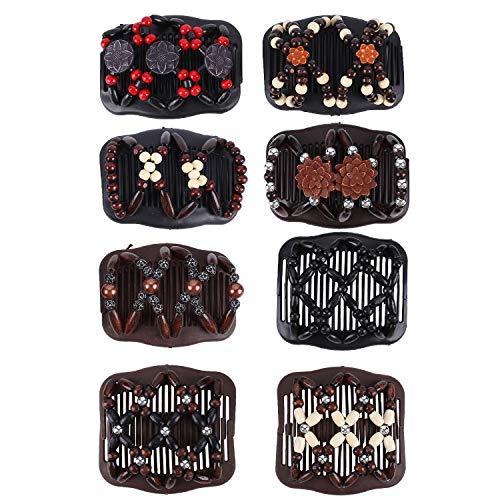FORMIZON 8 Pièces Peignes de Cheveux Perles, Peigne Cheveux Extensible Magique, Pinces à Cheveux Élastiques Magiques Cheveux Peigne Accessoire Party Decor, Barrette Cheveux Femme