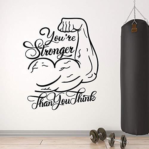 Tu pared más fuerte calcomanía gimnasio frases motivacionales manos musculares vinilo ventana pegatinas Fitness decoración interior Mural