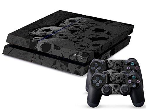Gaminger Playstation 4 Designfolie Sticker Skin Set für Konsole + 2 Controller – Skulls Black