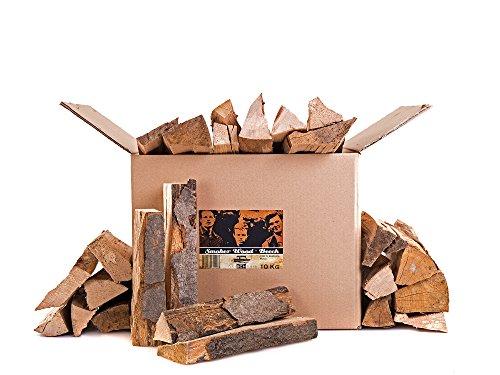 Axtschlag Räucherholz Buche, 10 kg sortenreines Smoker Wood mit Rinde, Scheitholz mit ca. 25 cm Länge für Räucheröfen, größere Kohlegrills und Smoker