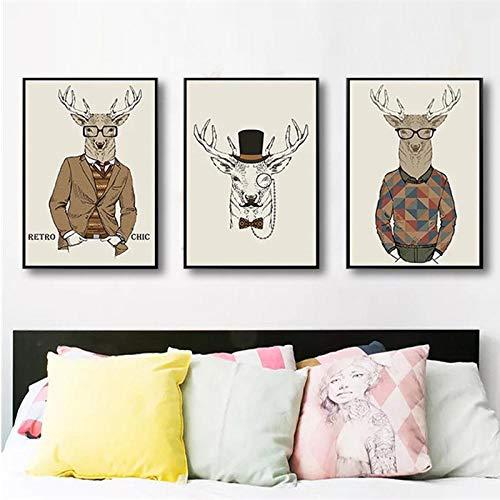 kldfig Nordic rendier Cool Guy creatief met pak hoed abstract Wild Interessant muurschilderijen kunst canvas poster Home Decoration 50 * 70cm niet ingelijste 3 stuks