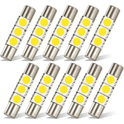 Partsam 29mm Festoon 5050 SMD LED Lights Car Interior Vanity Mirror Sun Visor Lamp Bulbs, White, Pack of 10