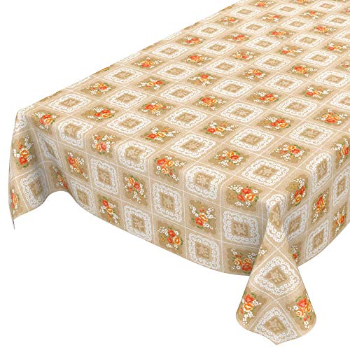 ANRO Tischdecke Wachstuch abwaschbar Wachstuchtischdecke Wachstischdecke Oma Style Gelb-Orange 100x140cm