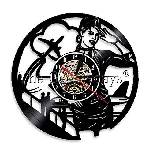 DFRTY 1 Pieza Reloj de línea aérea Viaje Recuerdo Recuerdo Auxiliar de Vuelo Reloj de Pared Hermosa Dama Noche lámpara decoración del hogar
