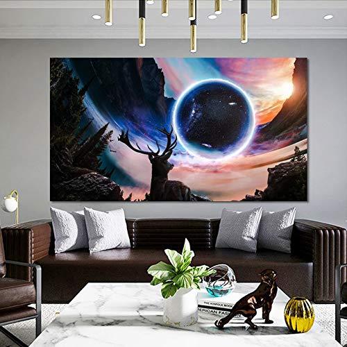 wZUN Puesta de Sol Paisaje y fantasía Cielo Estrellado Pintura Carteles e Impresiones murales imágenes de Ciervos decoración de la Sala de Estar 50x90 cm