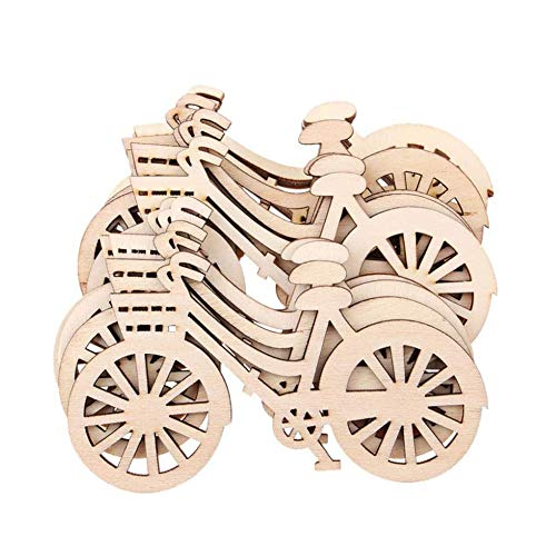 AKOAK 10 Count Wooden Bicycle Ornaments DIY Handmade Bike Cutout Veneers Slices Crafts for Home Christmas Birthday Engagement Wedding Festival Party Decorations