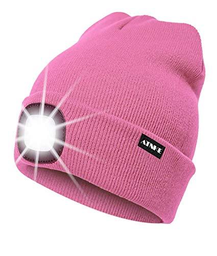 ATNKE LED beleuchtete Mütze, wiederaufladbare USB-Laufmütze mit extrem Heller 4-LED-Lampe und Blinkender Alarmscheinwerfer/Rosa