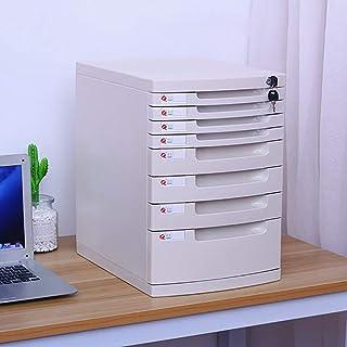 Classeur avec tiroir Fichier plat Classeur plat de bureau Boîte de rangement Mobilier d'archives Cabinet, avec serrure hau...