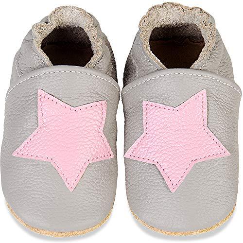 IceUnicorn Weiche Leder Babyschuhe Lauflernschuhe Krabbelschuhe Babyhausschuhe mit Wildledersohlen für Junge Mädchen Kleinkind(Hellgrauer rosa Stern,12-18)