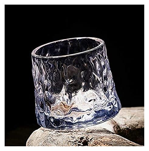 NUOCHEN Gafas de Whisky Regalo de Regalo Giratorio de Whisky de Vidrio de Vidrio de Cristal 160 ml de Capacidad de 2 Piezas (Color : Hammered Pack of 2)