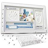 LALFOF marco huellas bebe 7in1 Regalos originales para bebes recien nacidos con nombre personalizados,datos de nacimiento y huella bebe pie y manos, para padres primerizos y para mamas embarazadas