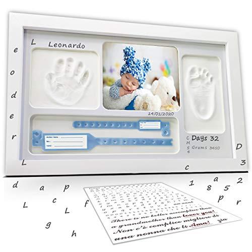 LALFOF® marco huellas bebe 7in1 Regalos originales para bebes recien nacidos con nombre personalizados,datos de nacimiento y huella bebe pie y manos, para padres primerizos y para mamas embarazadas