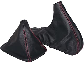 The Tuning-Shop Ltd For Bmw Z3 1995-2002 Shift & E Brake Boot Black Leather Red Stitching
