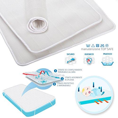 Air Cuddle Top Safe Coprimaterasso impermeabile per lettino 70X140 cm