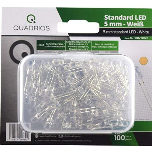 QUADRIOS - Juego de luces LED estándar, luz blanca cálida, 5 mm, diodos emisores y documentación (100 unidades)
