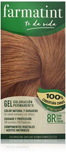 Farmatint Gel 8R Rubio Claro Cobrizo | Color Natural y Duradero | Componentes Vegetales y Aceites Naturales | sin Amoníaco | sin Parabenos | Dermatológicamente Testado
