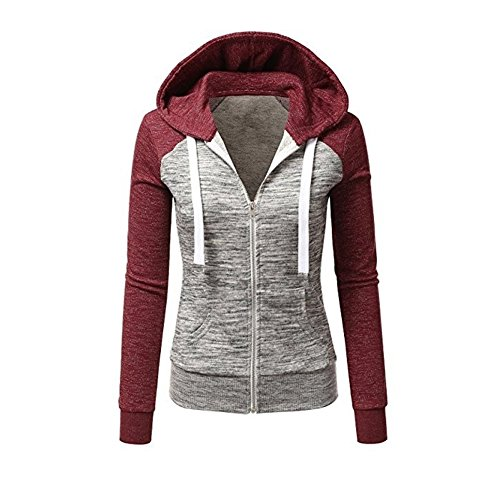 Newbestyle Jacke Damen Kapuzenpullover Strickjacke Pullover Sweatshirt Hoodies Kontrastfarbe Pulli Rot X-Small