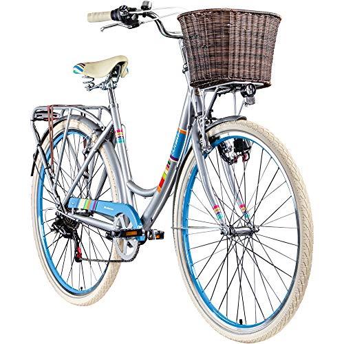 Galano Bella 700c Damenrad 28 Zoll Hollandrad Stadtrad Fahrrad Citybike Damenfahrrad 6 Gang (metallgrau, 48 cm)