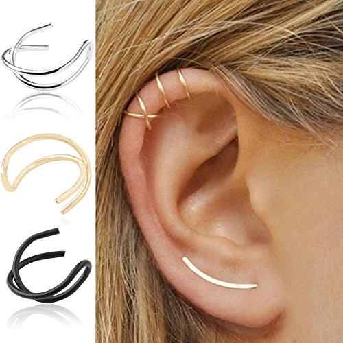 FENGLANG Ohr Fake Piercing Doppelring Ohrklemme Lippenpiercing aus Titan, Herren, Damen (Schwarz+Silber+Gold-3 Stücke)