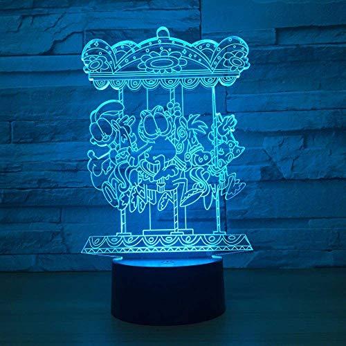 Carrusel 3D Lámpara de ilusión LED Luz nocturna Mesita de noche óptica Luces nocturnas 16 Cambio de color Botón táctil Decoración Lámparas de escritorio,