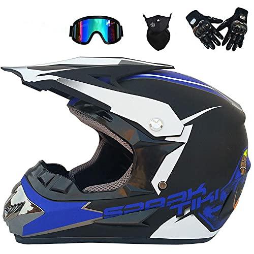 Junqin Casco de Motocicletas de la Cara Completa, Motocross Adult Motoccycle Helmet MX ATV Scooter, con Gafas Gloves Máscara, Certificación ECE (L)-blue33||S