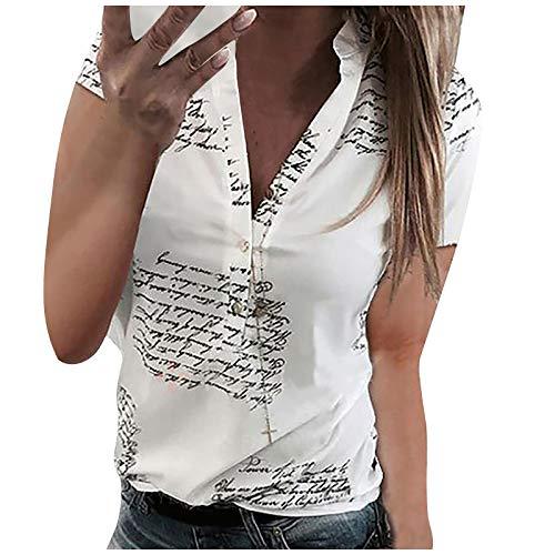 VEMOW Blusas y Camisas de Manga Corta para Mujer con Cuello en V, 2021 Moda Camiseta de Encaje de Costura Blusa Impresión de Letras Casual Blusas Elegante Suelto Tops Primavera Otoño