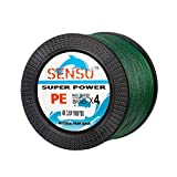Sensu Superpower Braided Fishing Line - Abrasion Resistant Braided Lines – Incredible Superline – Zero Stretch – Smaller Diameter – A Must-Have! (30 LB(14KG) 0.26mm-150 Yds, Moss Green)