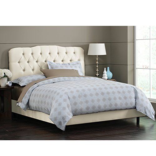 Big Sale Best Cheap Deals Skyline Furniture Surrey California-King Shantung-Upholstered Tufted Bed, Parchment