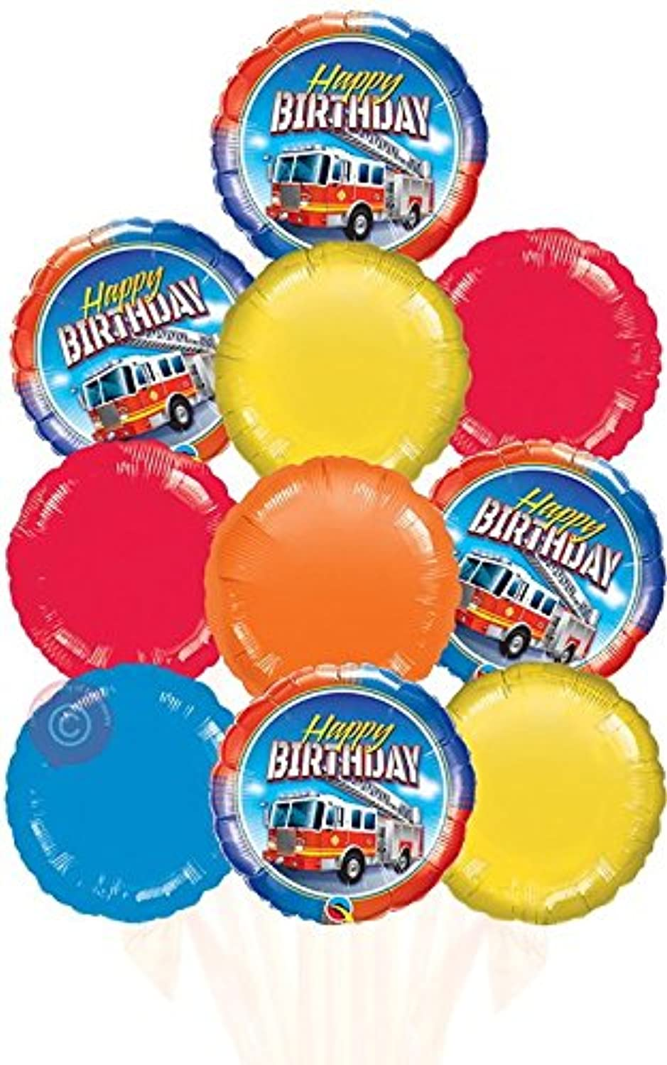 Happy Birthday Fire Truck  Inflated Birthday Helium Balloon Delivered in a Box  Biggest Bouquet  10 Balloons  Bloonaway