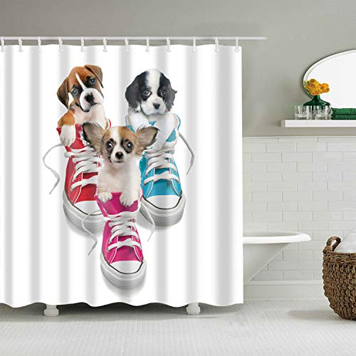 xuelizhou Rood Roze op Een Witte Achtergrond Blauw Sneakers Zwart Geel Leuke Puppy Badkamer douchegordijn duurzame stof meeldauw badkamer accessoires creatief met 12 haken 180X180CM