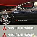 SUPERSTICKI Mitsubishi Motors mit Logo 2-teilig Schweller Tür ca 30 cm Tuning Racing Rennsport Motorsport Deko Rennen aus Hochleistu