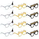 Amosfun Happy New Year Eyeglasses Fancy Decorative Eyeglasses Celebration Party Favor for 2021 New Year's Eve Party Decors,Pack of 12