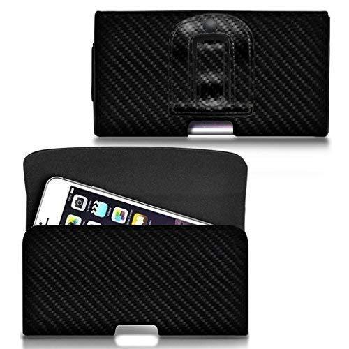 N4U Online® - Horizontal Kohlefaser Gürtel Tasche ZTE Blade L3 Plus