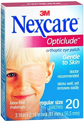 Nexcare Opticlude Eyepatch, Regular Size, Contoured for Fit, Hypoallergenic Adhesive, Designed to Help Lazy Eye, for Boys and Girls, 60 Count