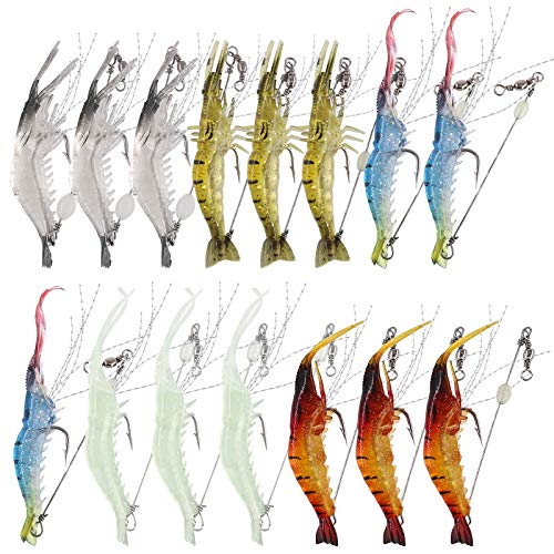 Hilitchi 15 Pcs Soft Shrimp Lures Fishing Bait Luminous Artificial Lures for Freshwater Trout Bass Salmon and More