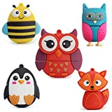 LEIZHAN 5x32GB USB Flash Drive with Chain Cute Animals Owl Penguin Bee Fox Computer Memory Stick USB 2.0 for Students