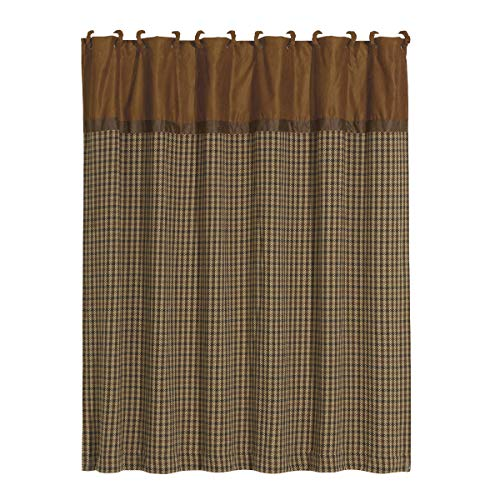 """HiEnd Accents Crestwood Rustic Tweed & Houndstooth Lodge Shower Curtain & Rings Bath Set, 72"""" x 72"""", Tan & Brown"""