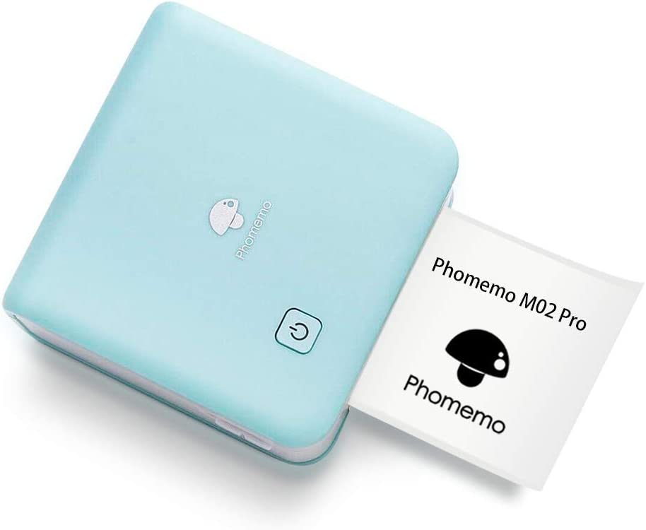 Phomemo 300dpi Mini Photo Printer- M02 Pro Pocket Thermal Bluetooth Printer Compatible with iOS and Android, for Photo Printing, Plan Journal, DIY Cards, List, Travel, Work and Study, Cyan