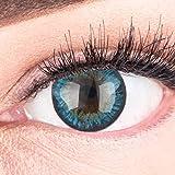 GLAMLENS lentillas de colores azules Fresh Mint Blue + contenedor. 1 par (2 piezas) - 90 Días - Sin Graduación - 0.00...
