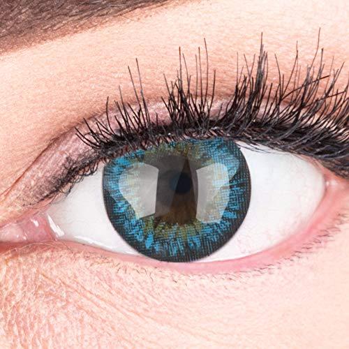 Blaue Farbige Kontaktlinsen Fresh Blue Blau Sehr Stark Deckende SILIKON COMFORT NEUHEIT von GLAMLENS + Behälter - 1 Paar (2 Stück) - DIA 14.50 - Ohne Stärke 0.00 Dioptrien