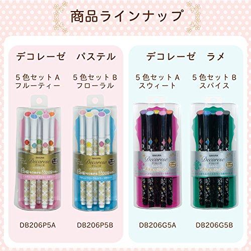 Sakura Fun Writing Gel Ink Roller Ballpoint Pen for Decoration, Decorese Pastel 5 Color Set A, Fruity Color (DB206P5A) Photo #8